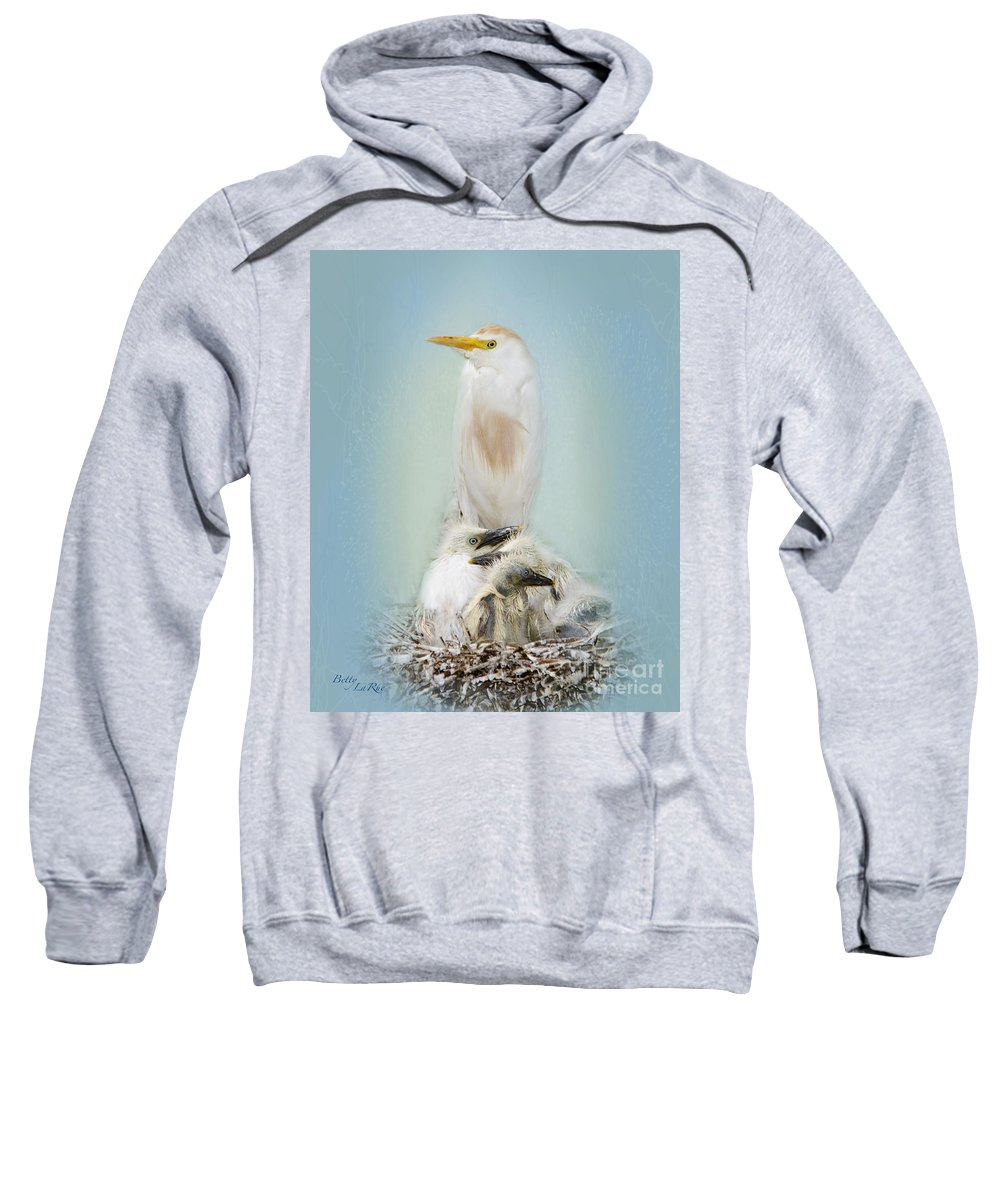 Cattle Egret Sweatshirt featuring the photograph They Have My Nose by Betty LaRue