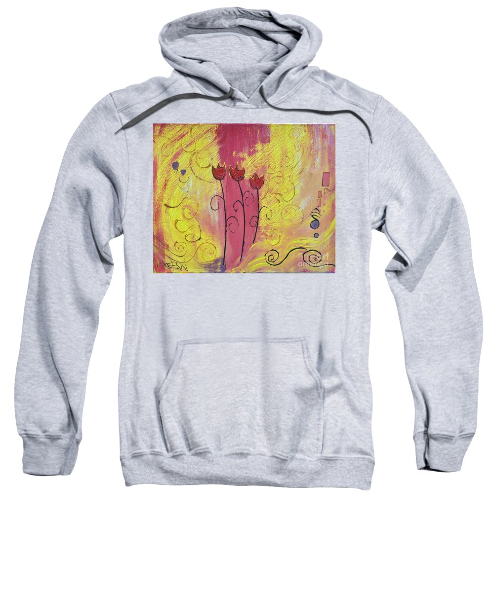 Flowers Sweatshirt featuring the painting Three Amigos by Stefan Duncan