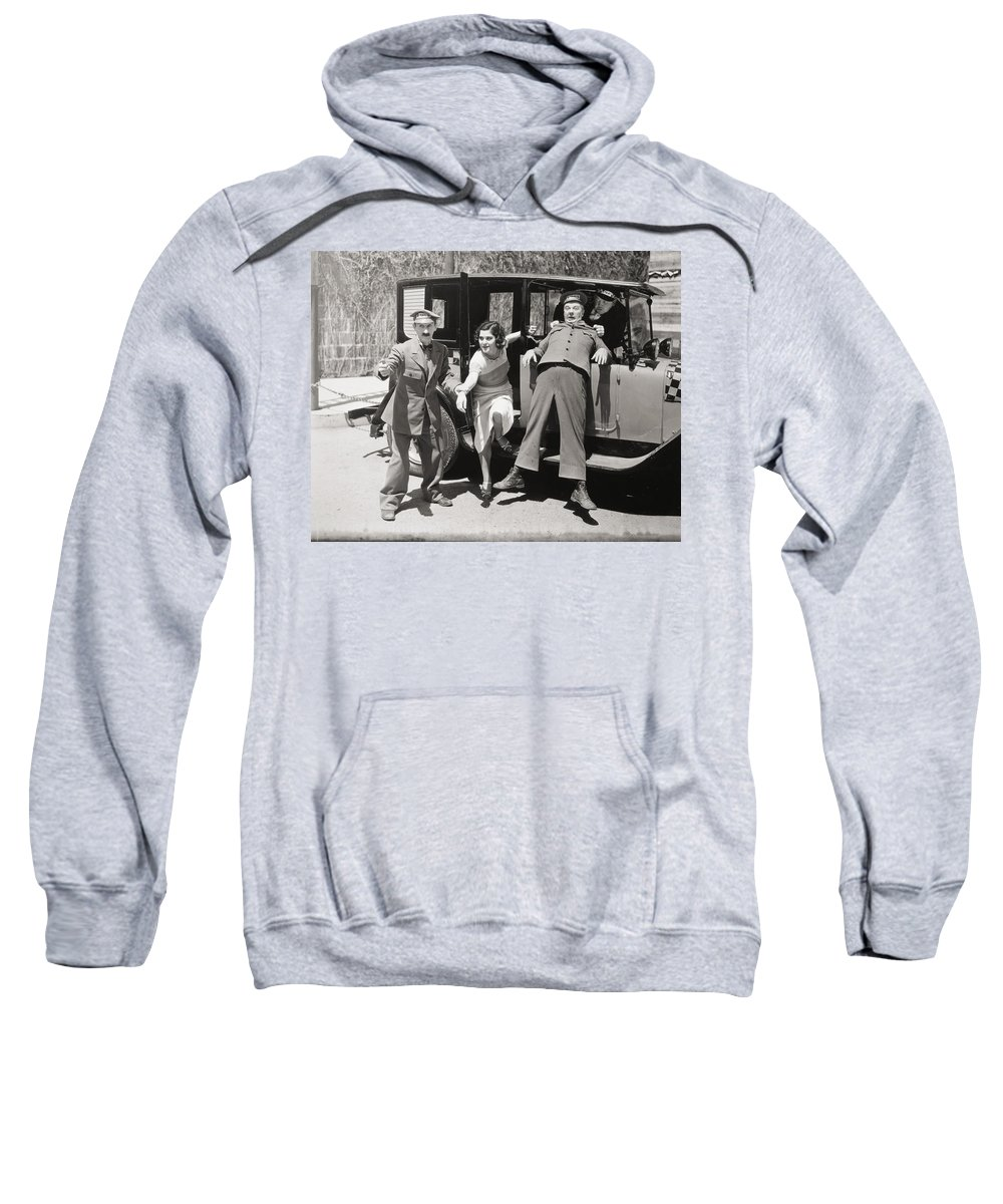 -transportation: Automobiles- Sweatshirt featuring the photograph Thundering Taxi, 1933 by Granger