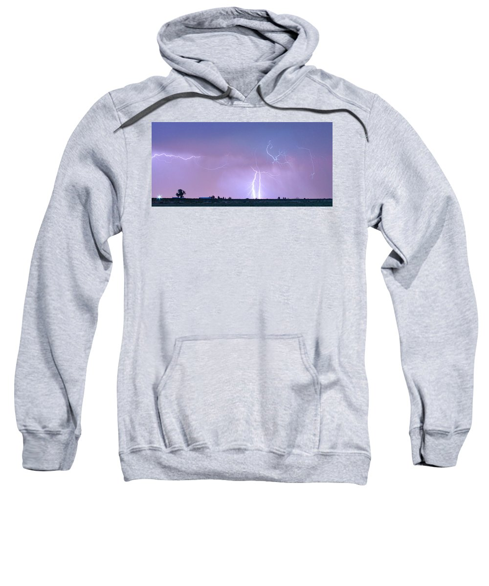 Lightning Sweatshirt featuring the photograph Thunderstorm On The Colorado Plains Panorama by James BO Insogna