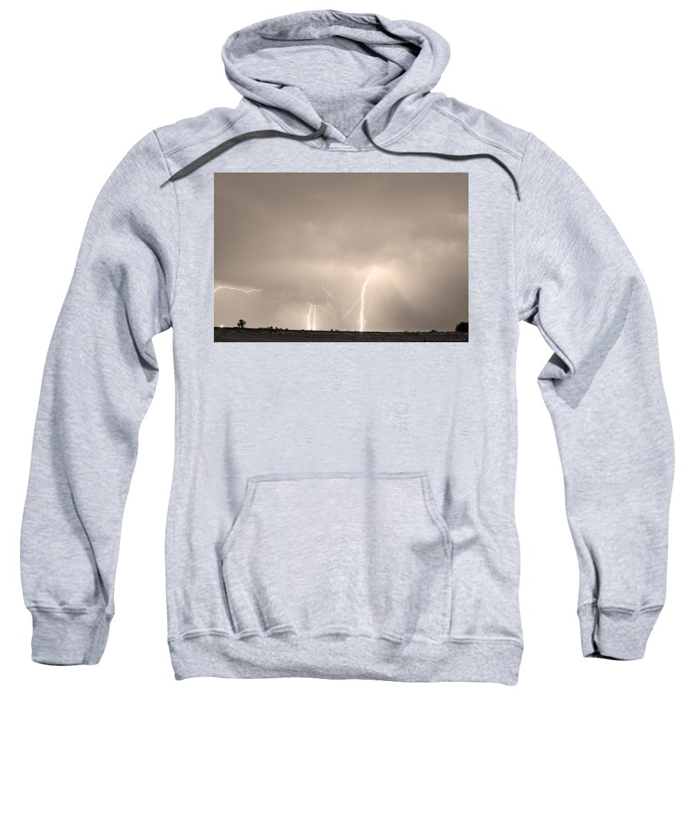 Lightning Sweatshirt featuring the photograph Thunderstorm On The Plains Bw Sepia by James BO Insogna
