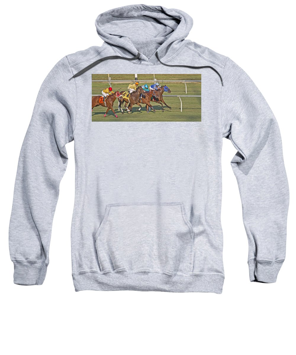 Horse Sweatshirt featuring the photograph To The Line by Betsy Knapp