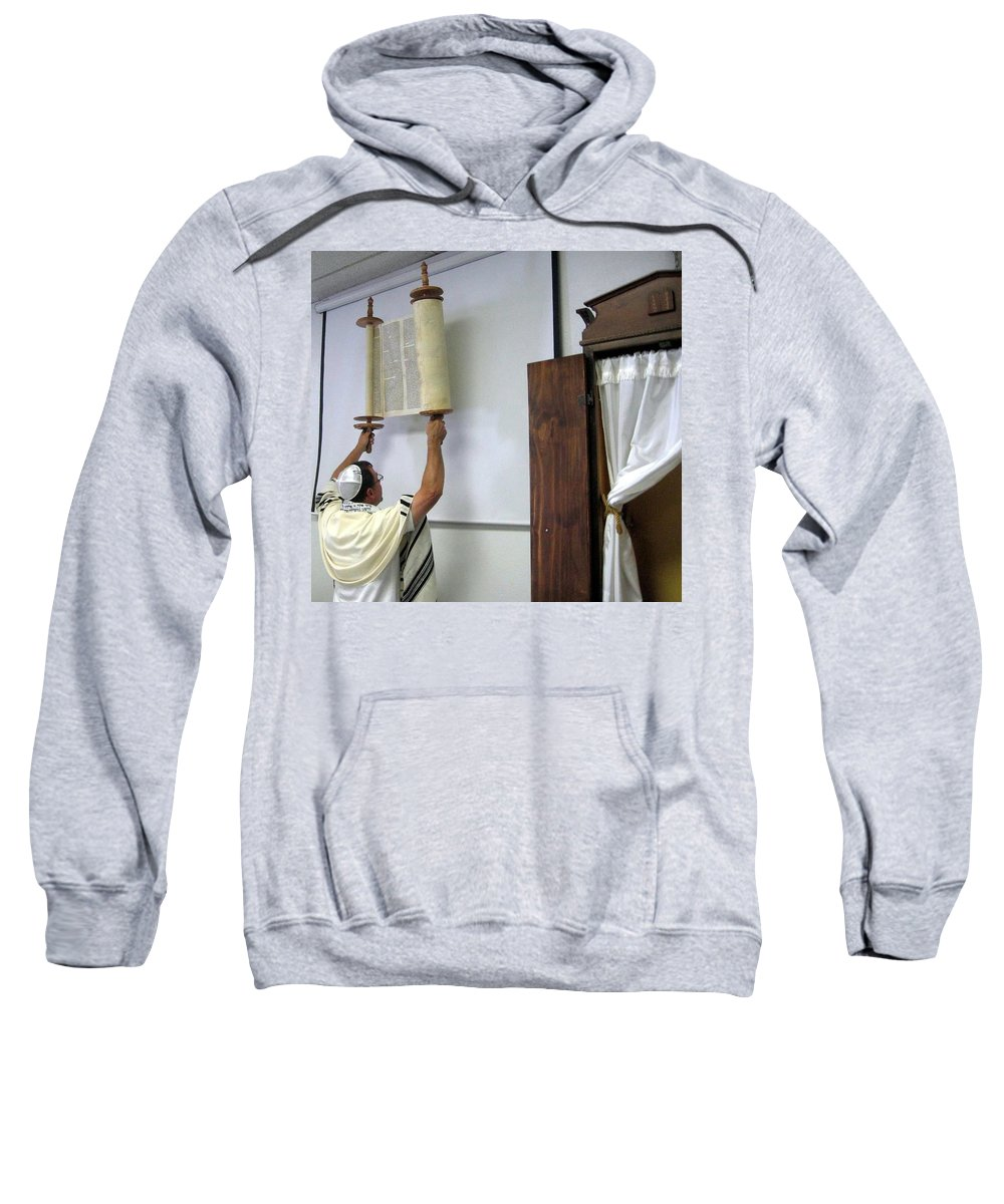 Sweatshirt featuring the photograph Torah Being Lifted Up by Amy Hosp
