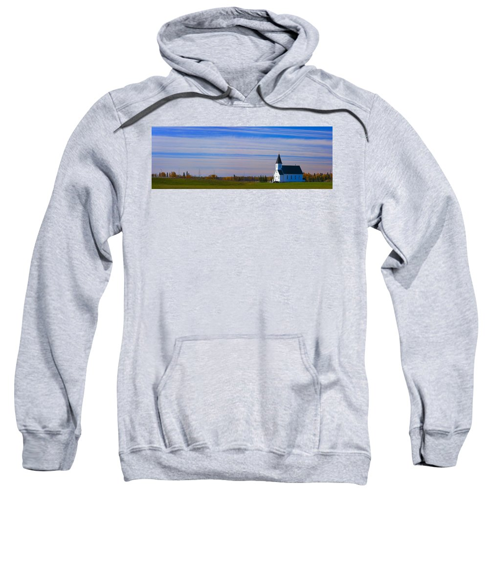 Field Sweatshirt featuring the photograph Traditional Prairie Steeple Church In by Corey Hochachka