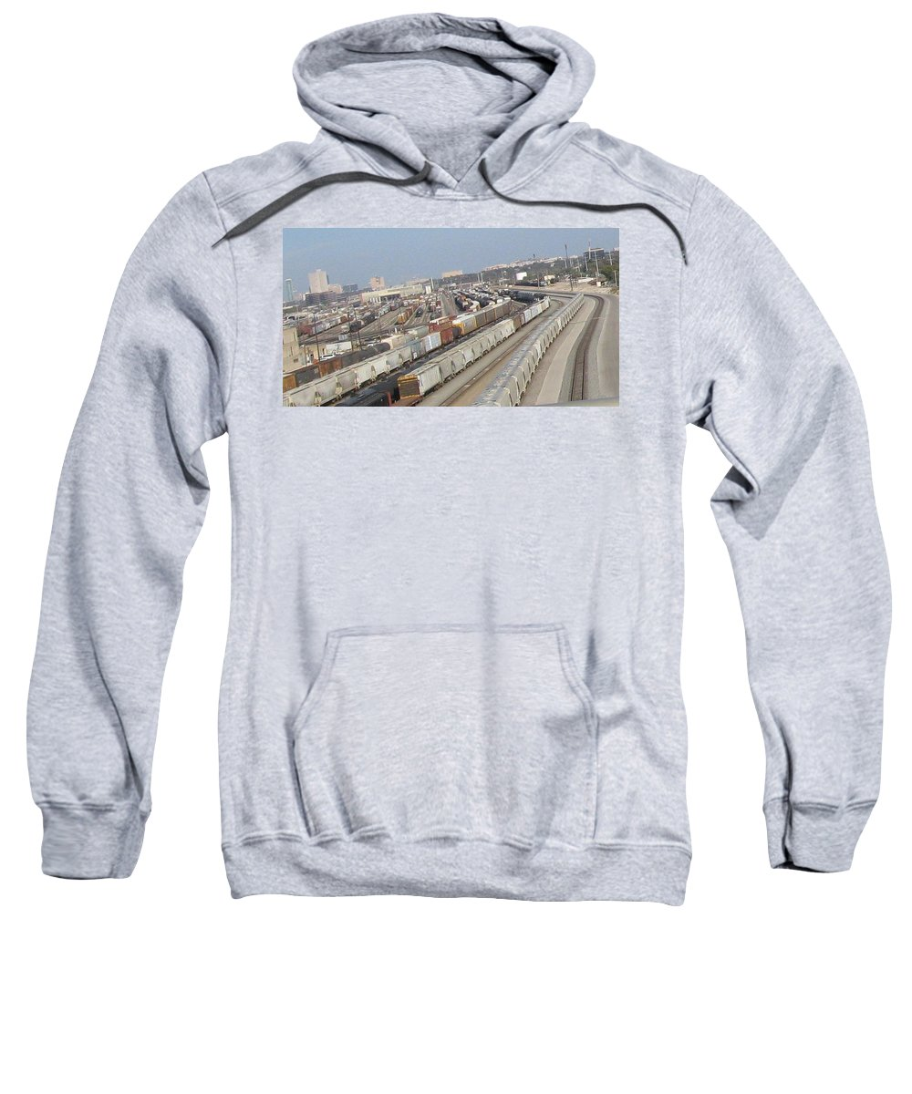 Sweatshirt featuring the photograph Trains Trains Trains by Amy Hosp