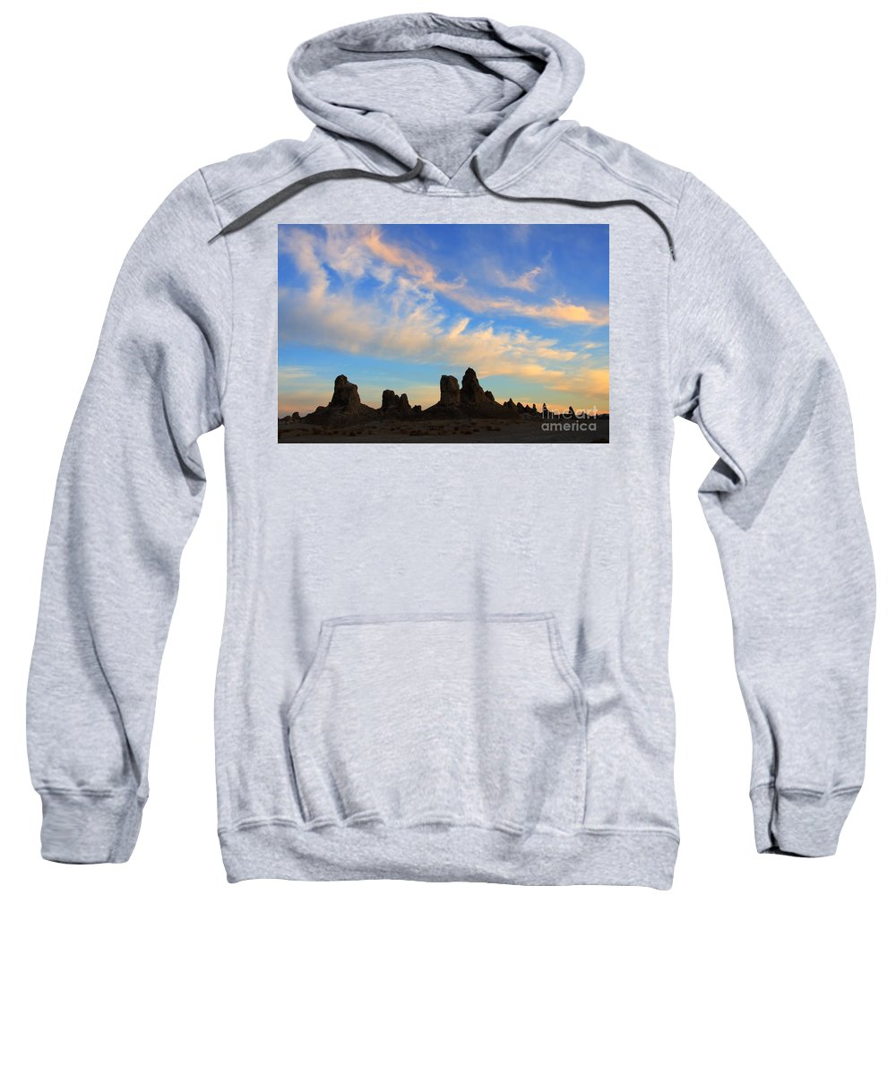 Trona Sweatshirt featuring the photograph Trona Pinnacles At Sunset by Bob Christopher