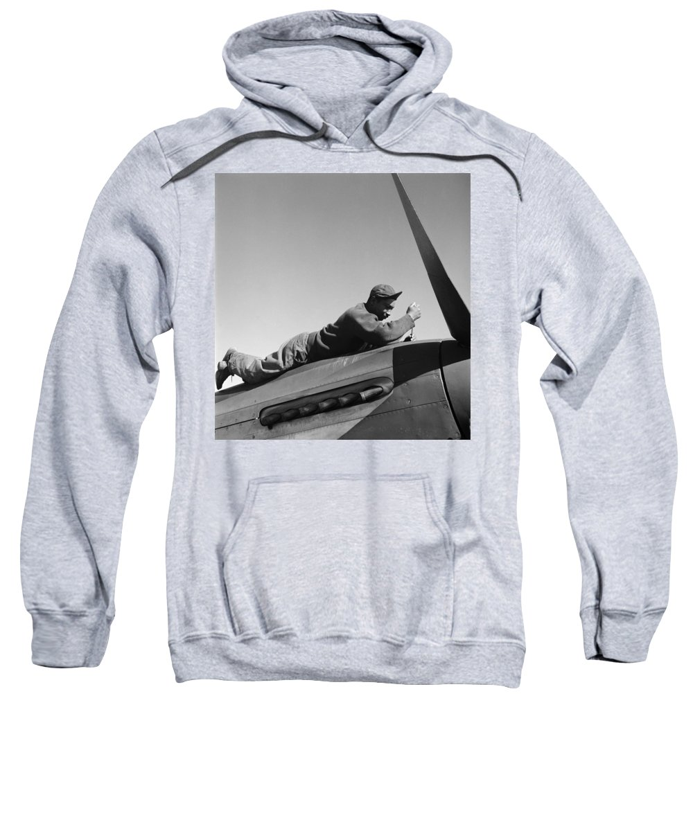 100th Fighter Squadron Sweatshirt featuring the photograph Tuskegee Airman, 1945 by Granger