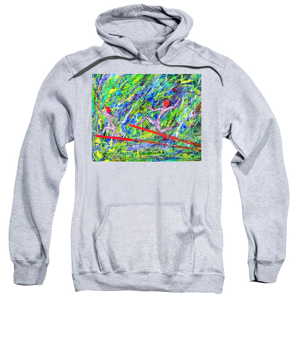 Abstract Sweatshirt featuring the painting Two Flying Surfers Two K O Nine by Carl Deaville