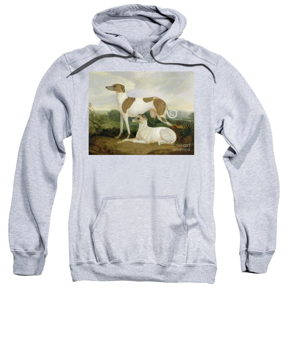 Xyc159885 Sweatshirt featuring the photograph Two Greyhounds In A Landscape by Charles Hancock