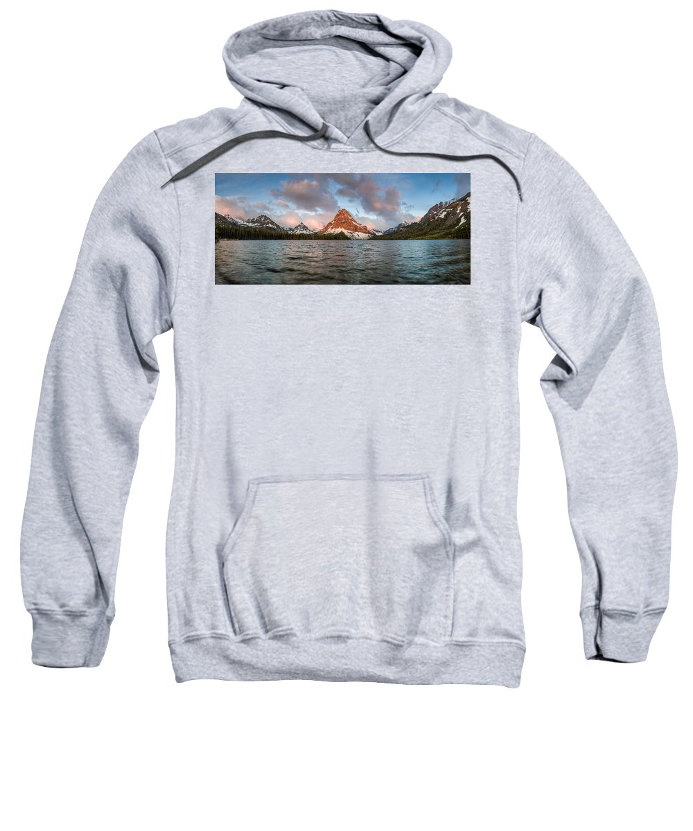 Two Medicine Lake Sweatshirt featuring the photograph Two Medicine Dawn Panorama by Greg Nyquist