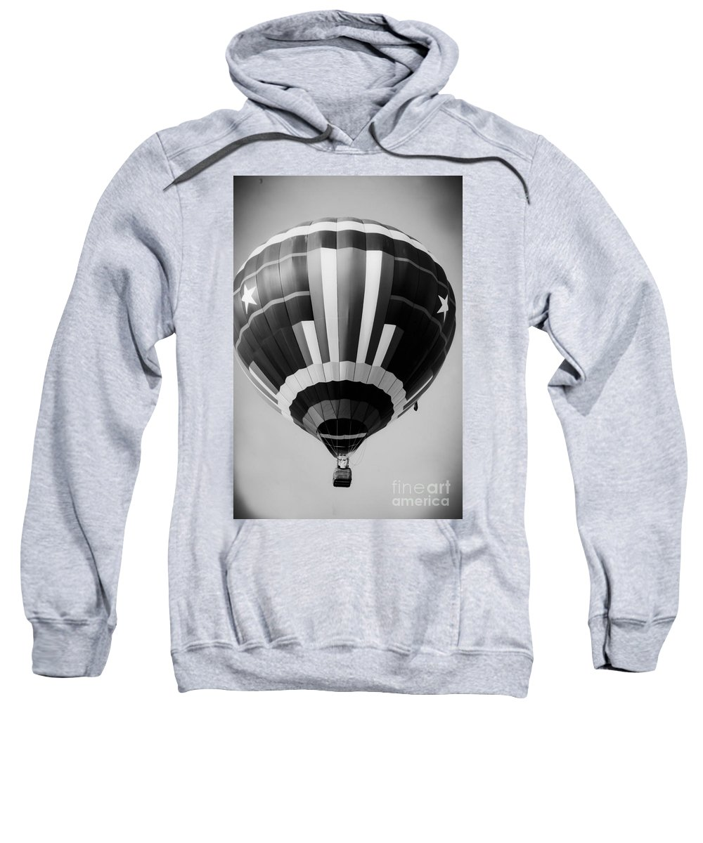 Black And White Hot Air Balloon Sweatshirt featuring the mixed media Two Star Balloon by Kim Henderson
