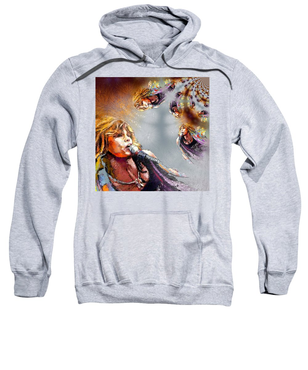 Music Sweatshirt featuring the painting Tyler Mania by Miki De Goodaboom