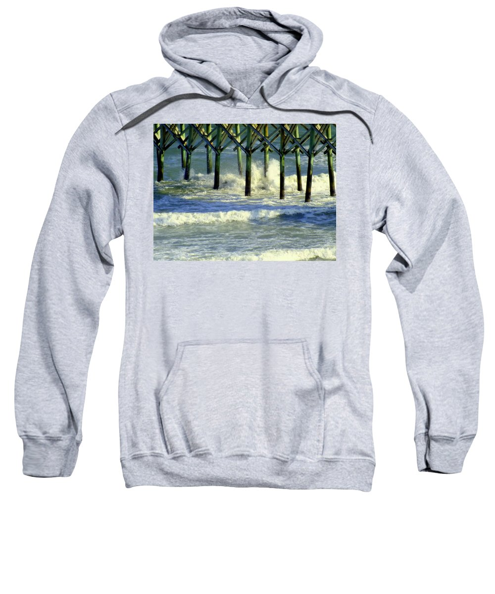 Waterscapes Sweatshirt featuring the photograph Under The Boardwalk by Karen Wiles