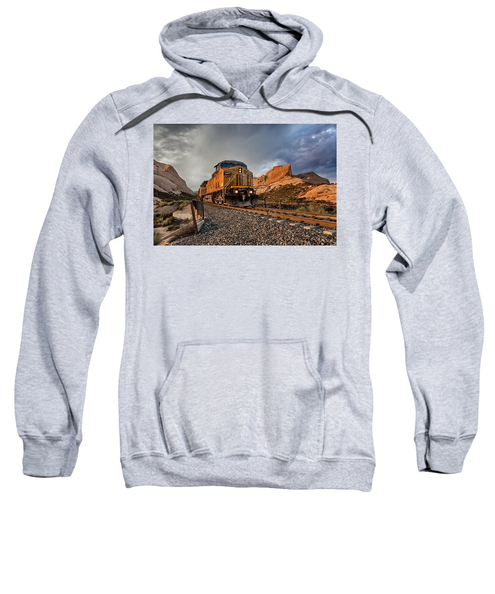 Train Sweatshirt featuring the photograph Union Pacific 6807 by Peter Tellone