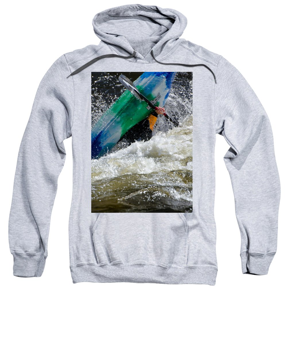 Kayaks Sweatshirt featuring the photograph Up And Over by Don Schwartz