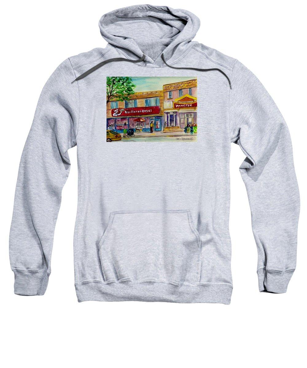 Van Horne Bagel Sweatshirt featuring the painting Van Horne Bagel With Yangzte Restaurant by Carole Spandau