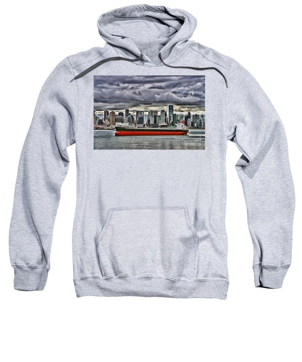 Boats Sweatshirt featuring the photograph Vancouver Freighter Hdr by Randy Harris