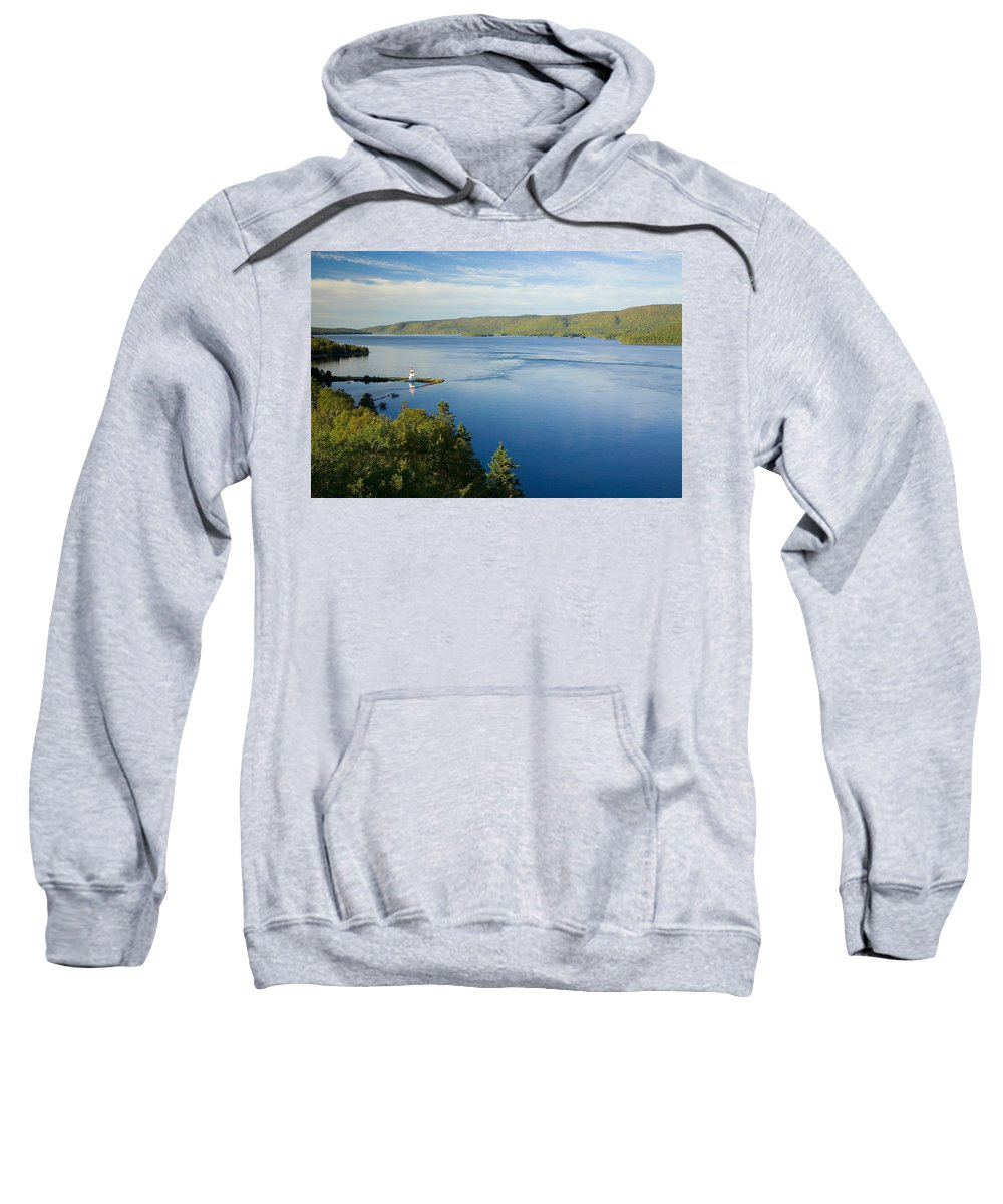 Bras Dor Lake Sweatshirt featuring the photograph View Of Boulardarie Island From Seal by John Sylvester