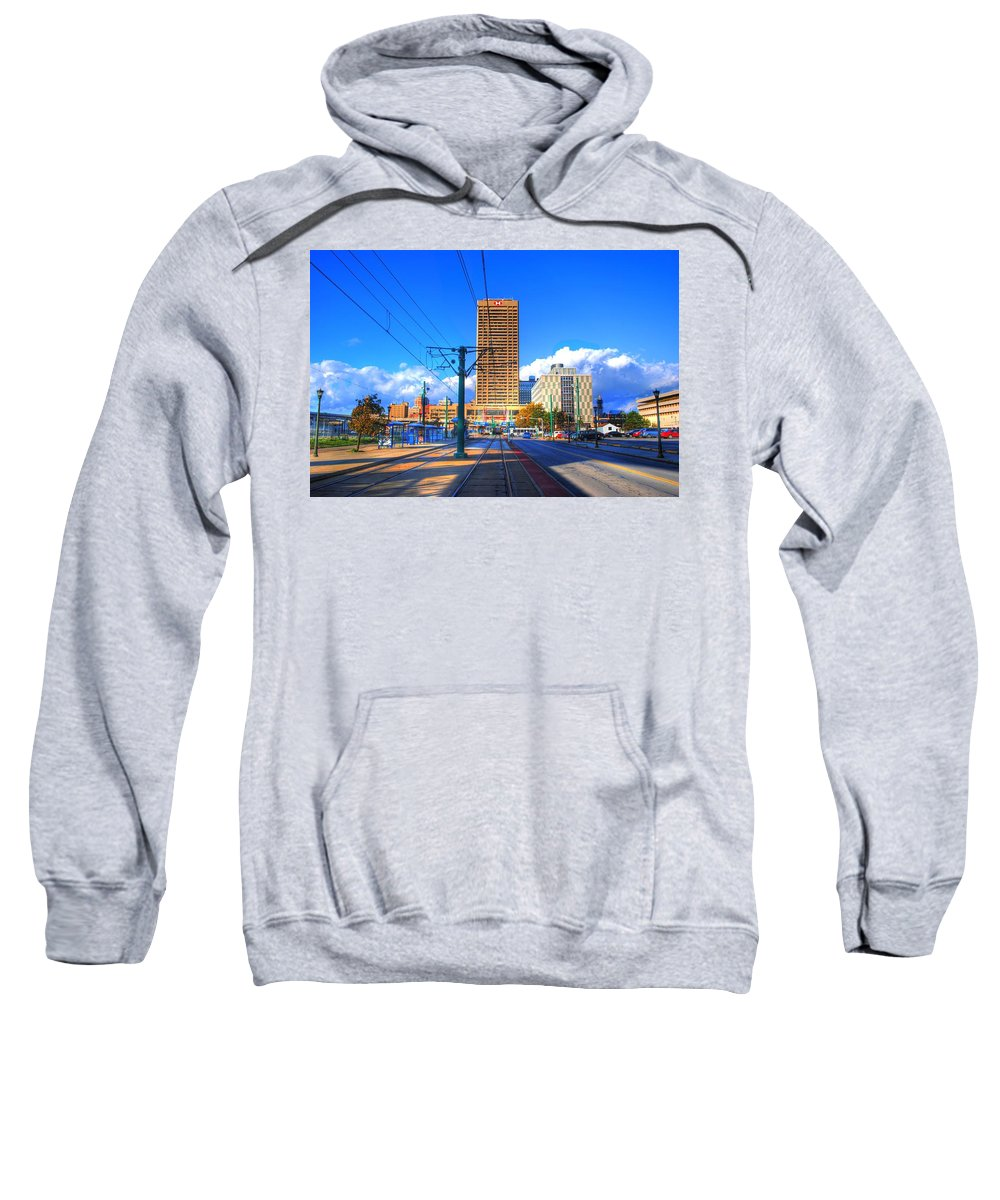 Sweatshirt featuring the photograph View Of Downtown Buffalo From The Tracks by Michael Frank Jr