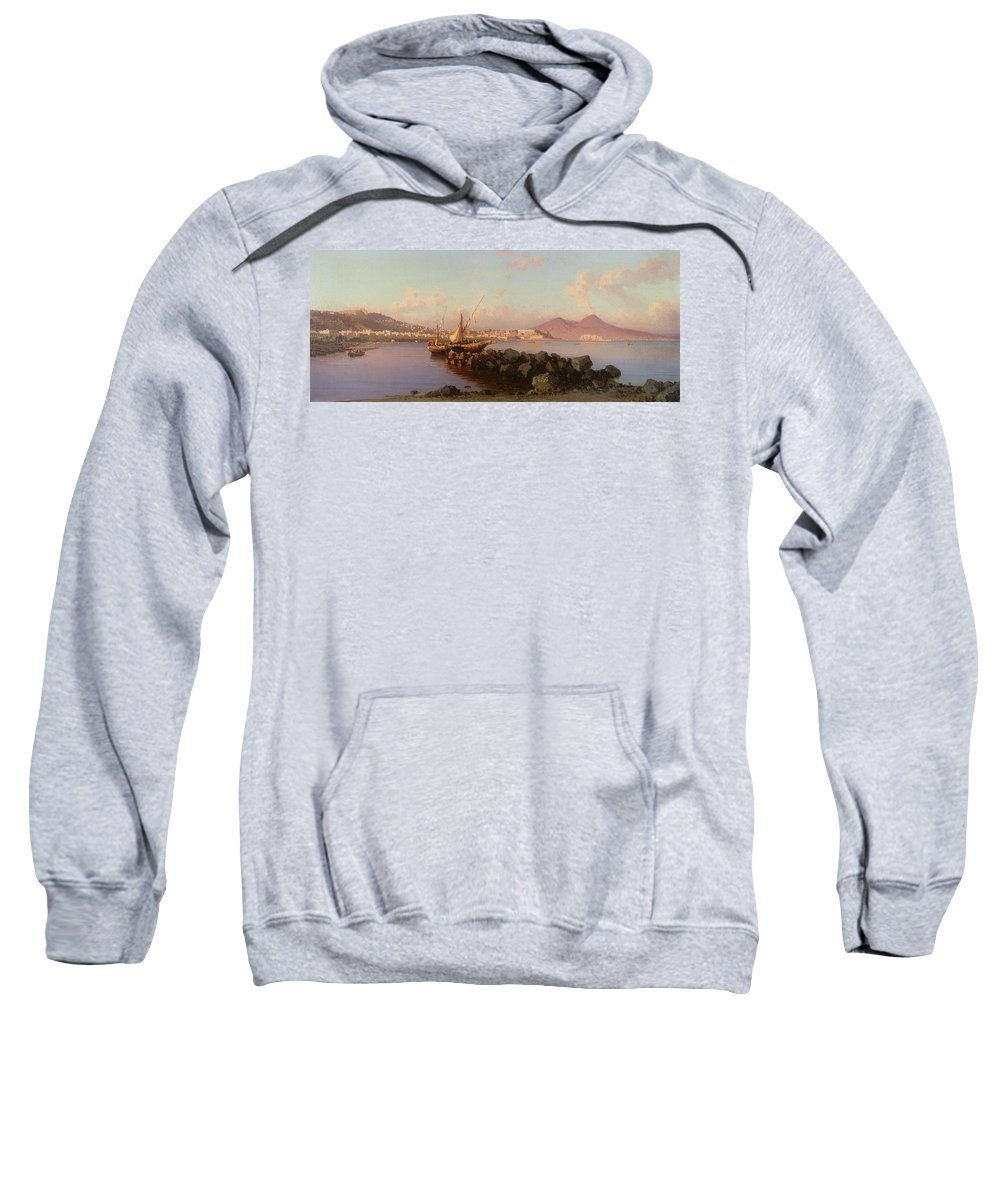 View Of The Bay Of Naples Sweatshirt featuring the painting View Of The Bay Of Naples by Alessandro la Volpe