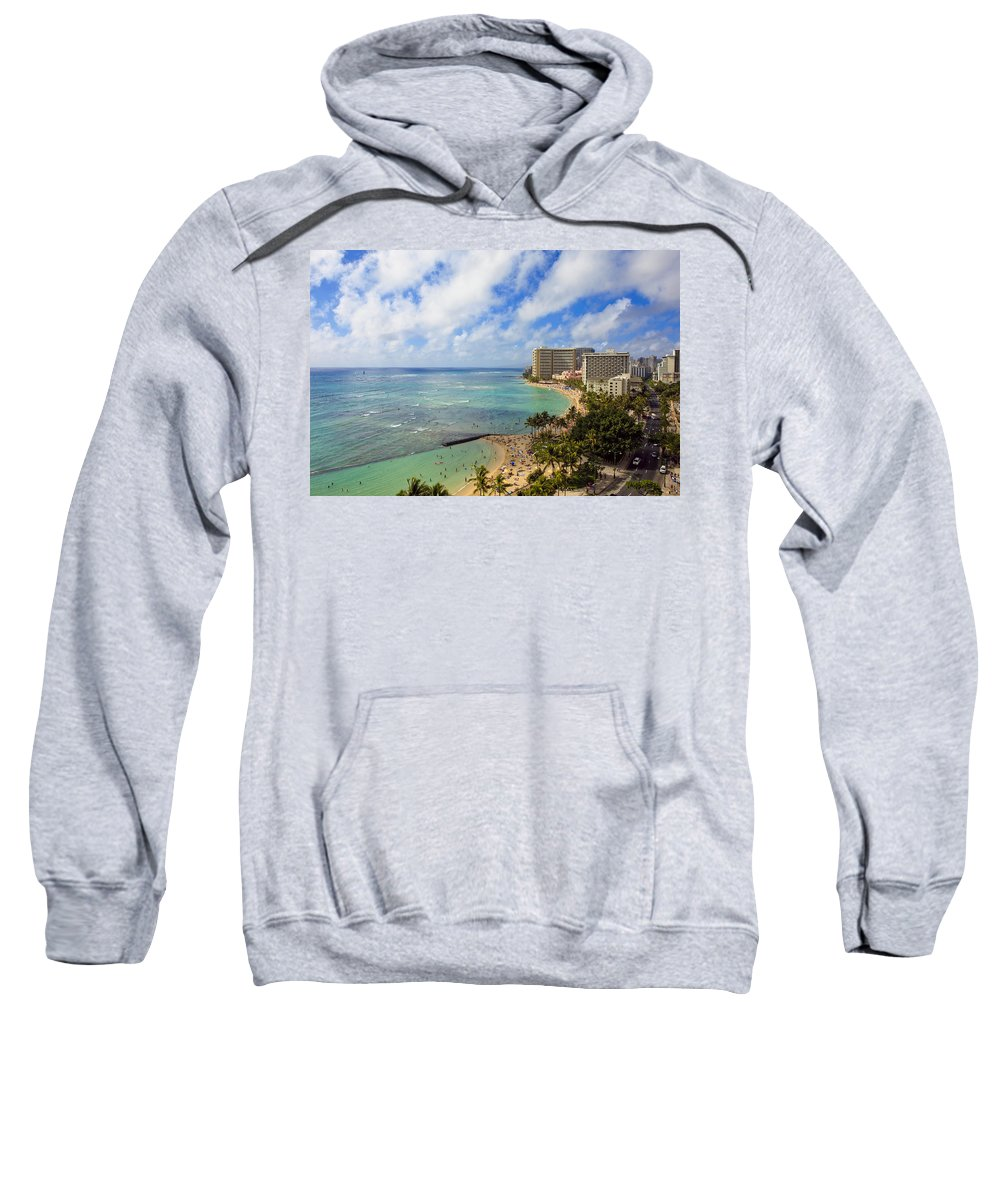 Aerial Sweatshirt featuring the photograph View Of Waikiki And Beach by Tomas del Amo