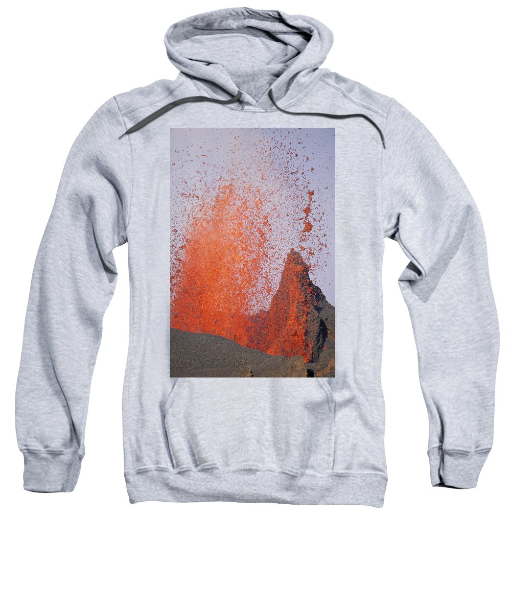 Eruption Sweatshirt featuring the photograph Volcanic Eruption, Spatter Cone by Tui De Roy