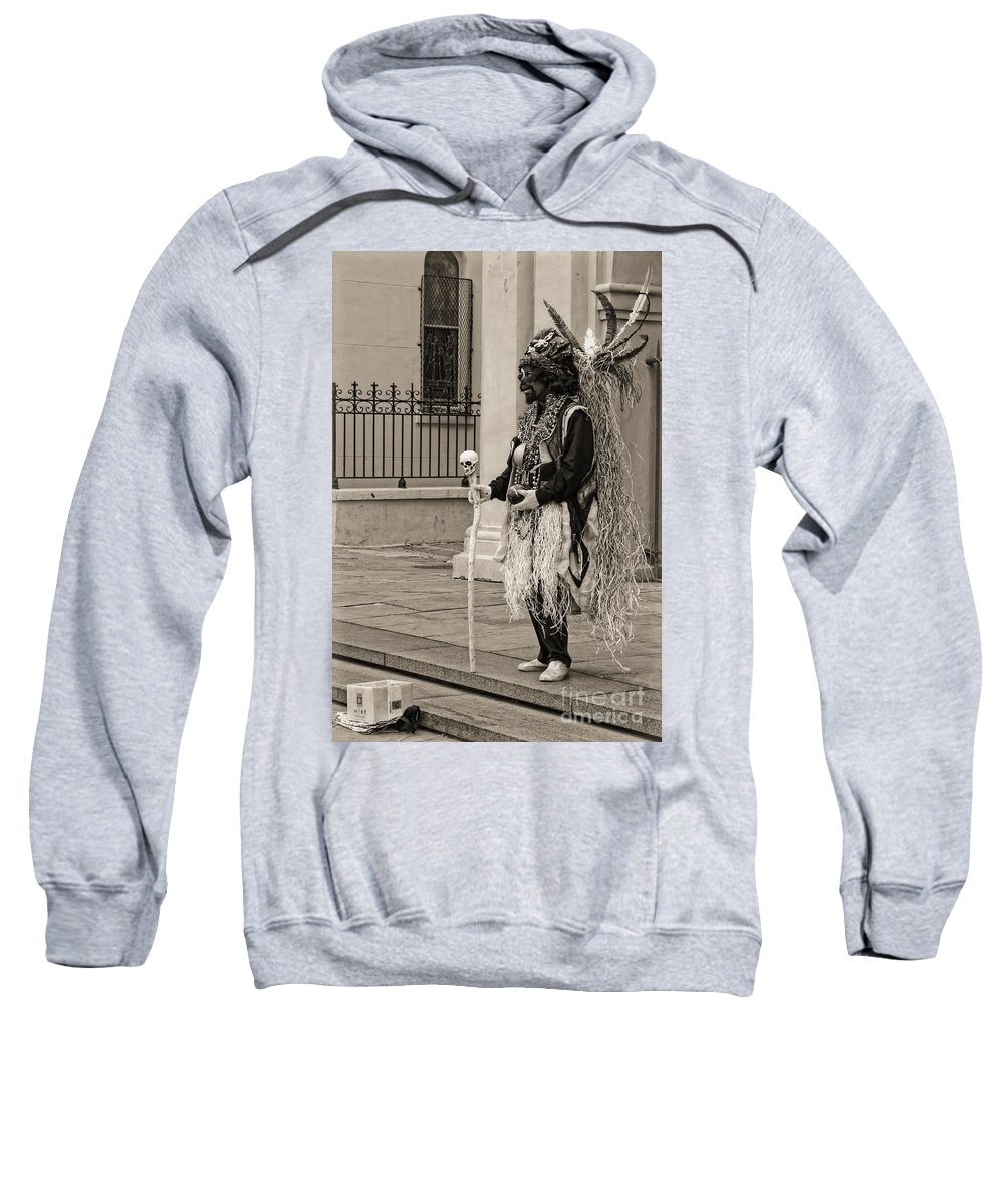 Mime Sweatshirt featuring the photograph Voodoo Man In Jackson Square New Orleans- Sepia by Kathleen K Parker
