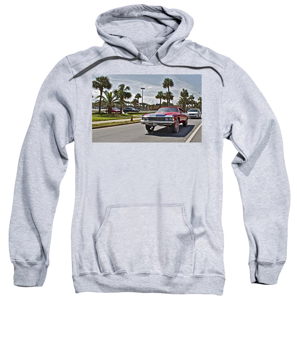 Red Car Auto Automobile Chevy Palms Sweatshirt featuring the photograph Vroom Vroom by Alice Gipson