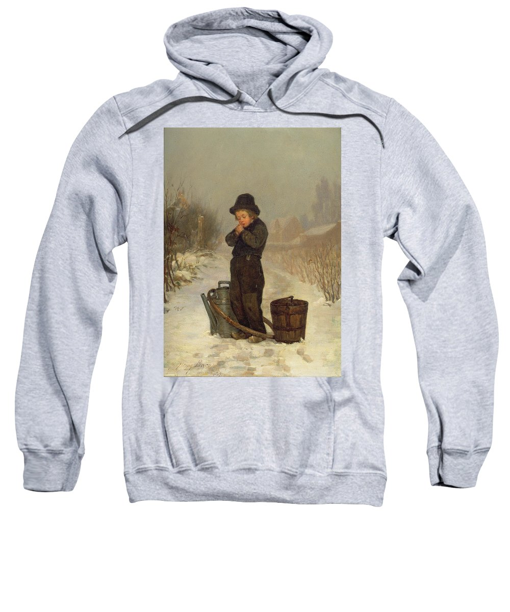 Child; Boy; Male; Snow; Cold; Snowy; Frozen; Buckets; Bucket; Pail; Pails; Winter; Landscape; Victorian; Collecting Water Sweatshirt featuring the painting Warming His Hands by Henry Bacon