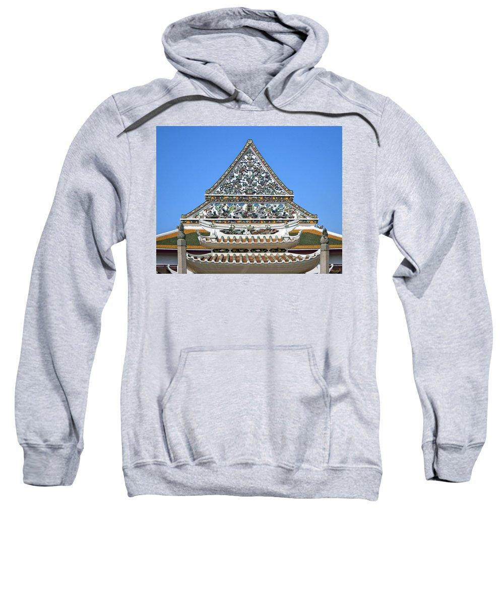 Bangkok Sweatshirt featuring the photograph Wat Ratcha Orasaram Temple Gate And Ubosot Gable Dthb858 by Gerry Gantt