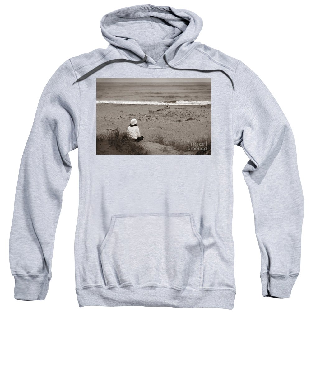 Water Sweatshirt featuring the photograph Watching The Ocean In Black And White by Henrik Lehnerer