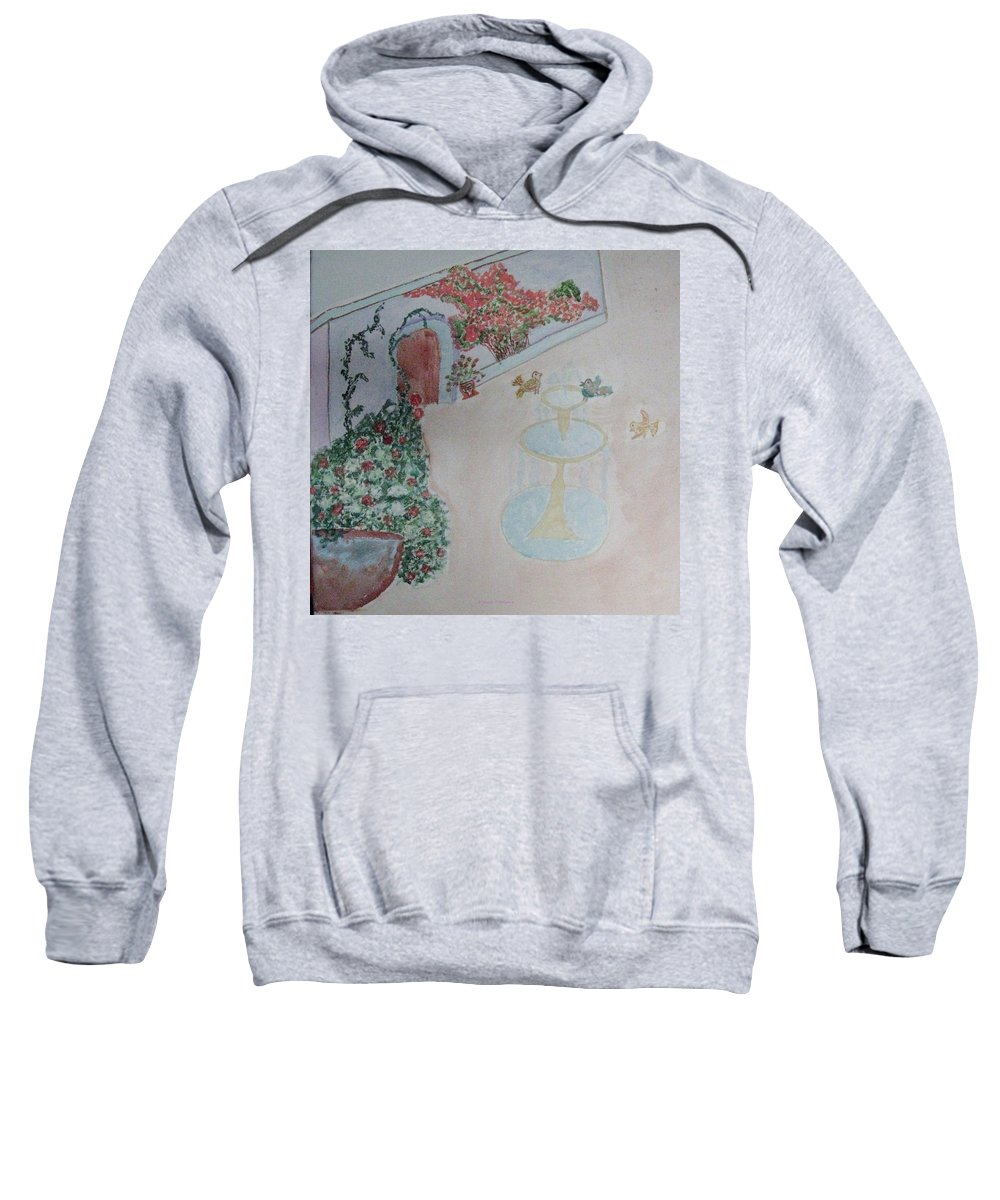 Beautiful Garden Sweatshirt featuring the painting Water Fountain Amidst Garden by Sonali Gangane