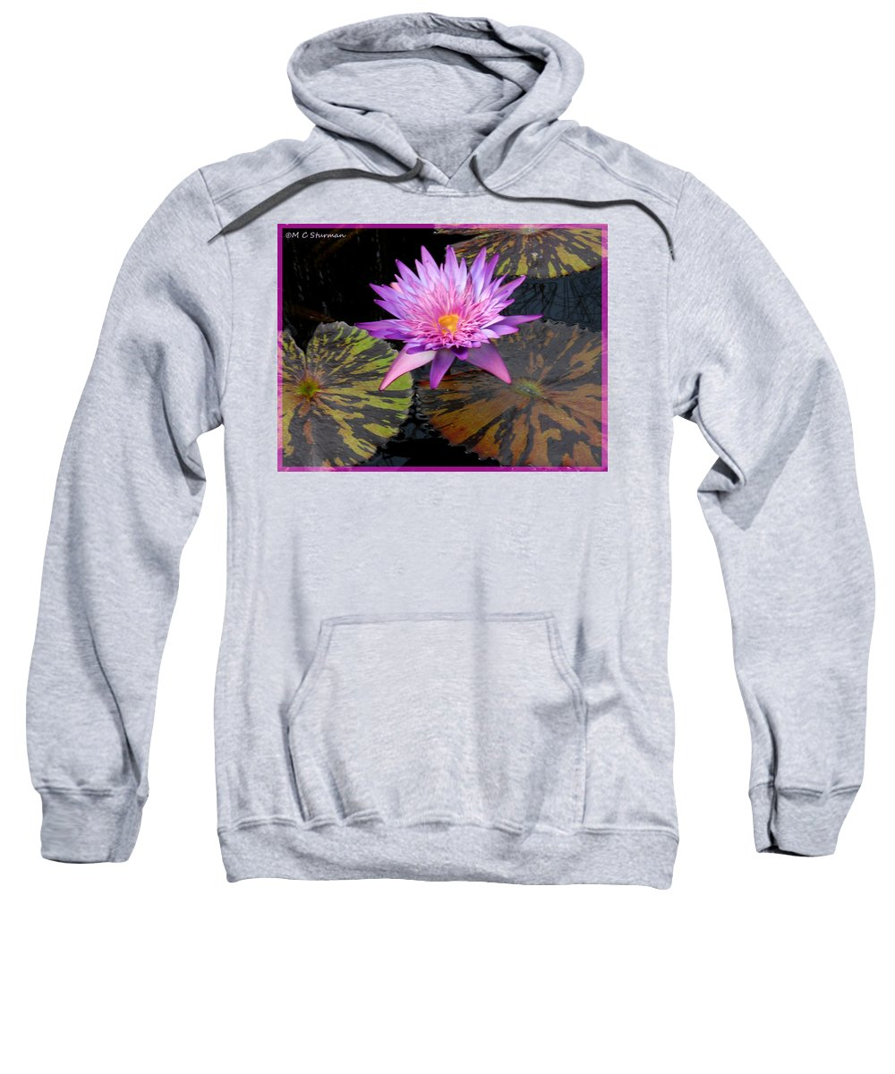 Waterlily Sweatshirt featuring the mixed media Water Lily Magic by M c Sturman