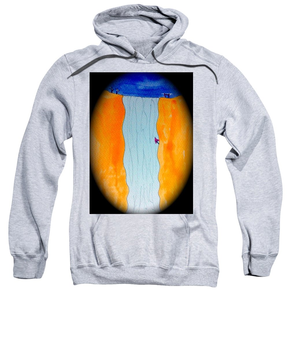 Waterfall Sweatshirt featuring the painting Waterfall by Tis Art