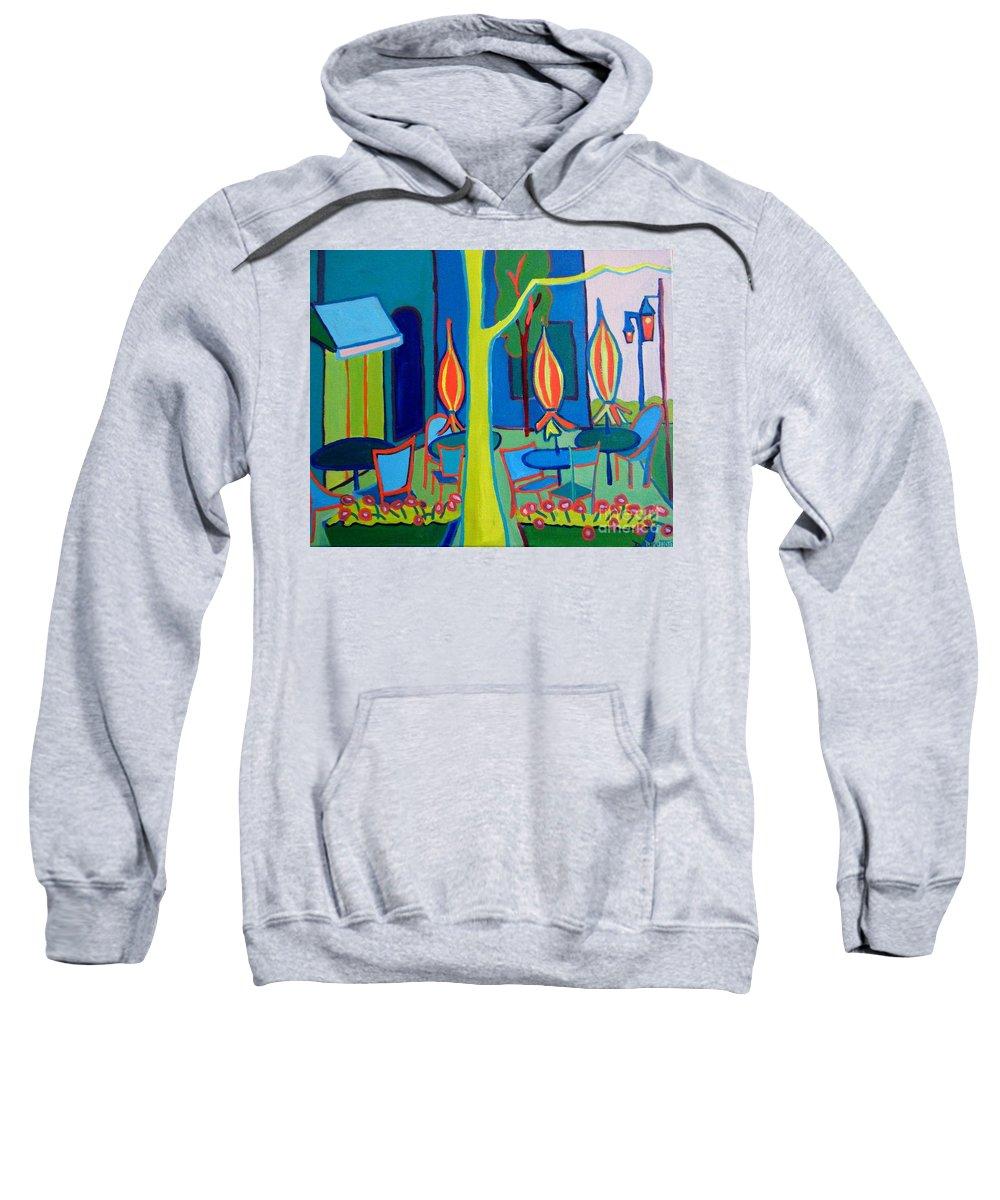 Landscape Sweatshirt featuring the painting Summer Cafe by Debra Bretton Robinson