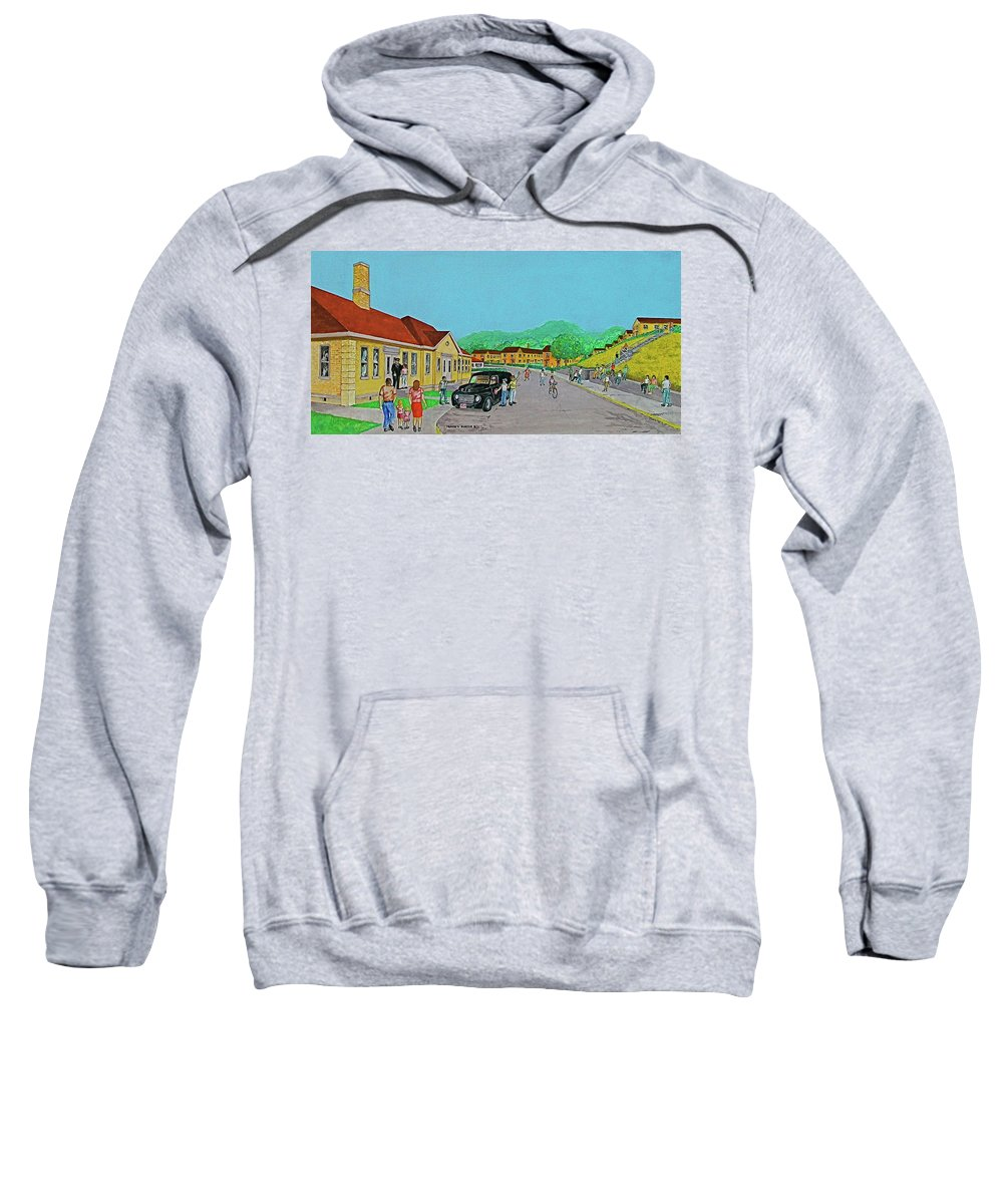 Wayne Hills Portsmouth Ohio Salvation Army Black Van Yellow Forsythia Reddish Roof Couple With Child Blue Sky Sweatshirt featuring the painting Wayne Hills 1948 by Frank Hunter