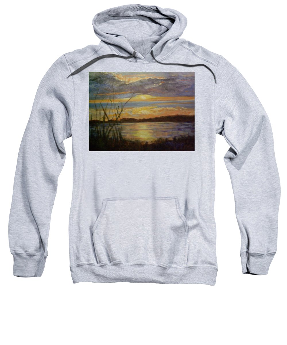 Sunset Sweatshirt featuring the painting Wetland by Marcia Hero
