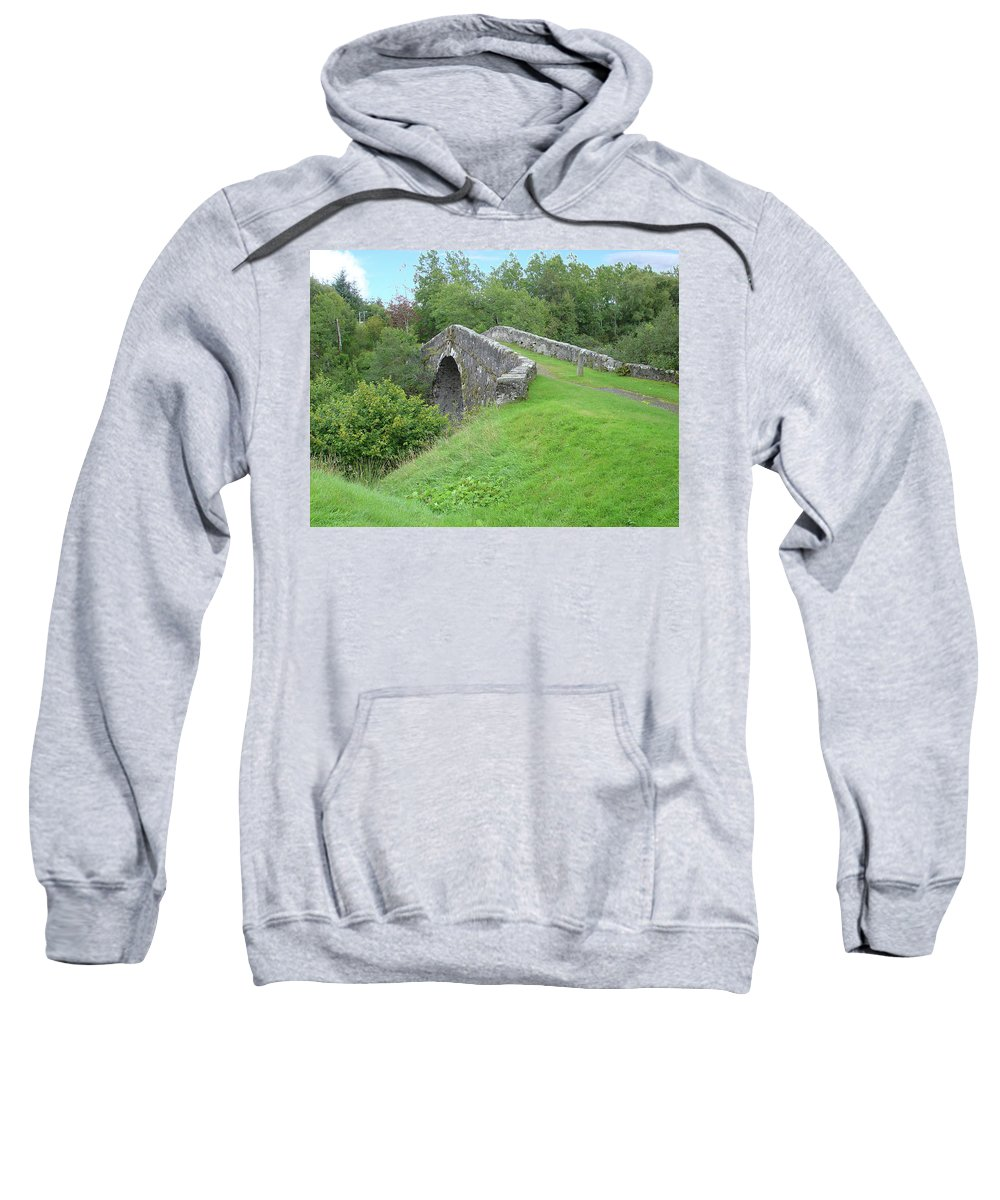 White Sweatshirt featuring the photograph White Bridge Scotland by Charles and Melisa Morrison