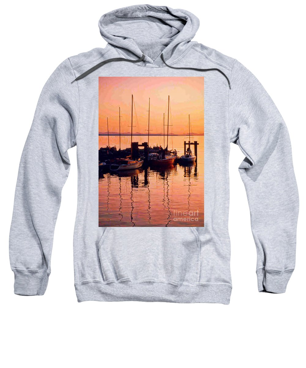 Boats Sweatshirt featuring the photograph White Rock Sailboats Hdr by Randy Harris