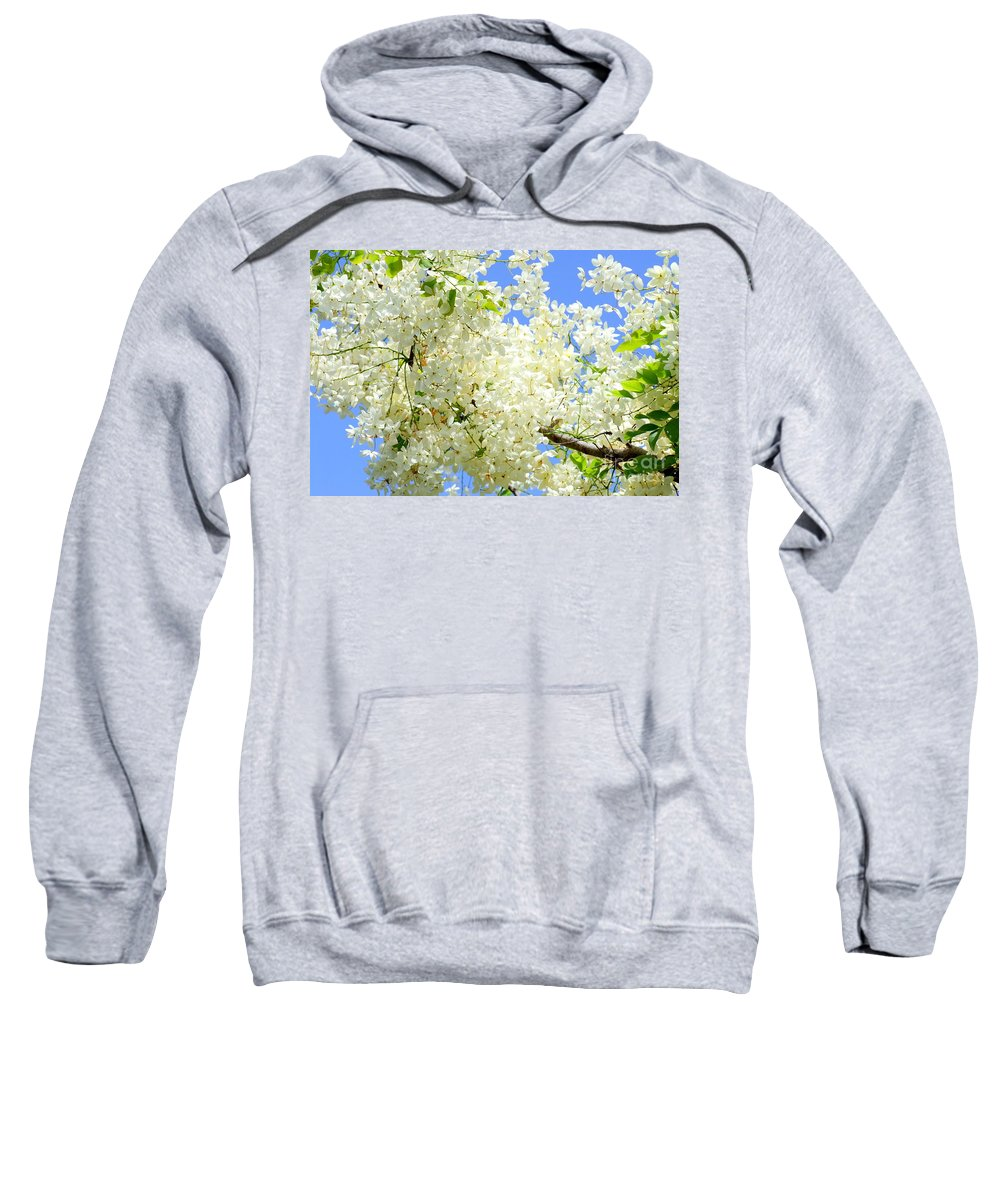 White Sweatshirt featuring the photograph White Shower Tree by Mary Deal
