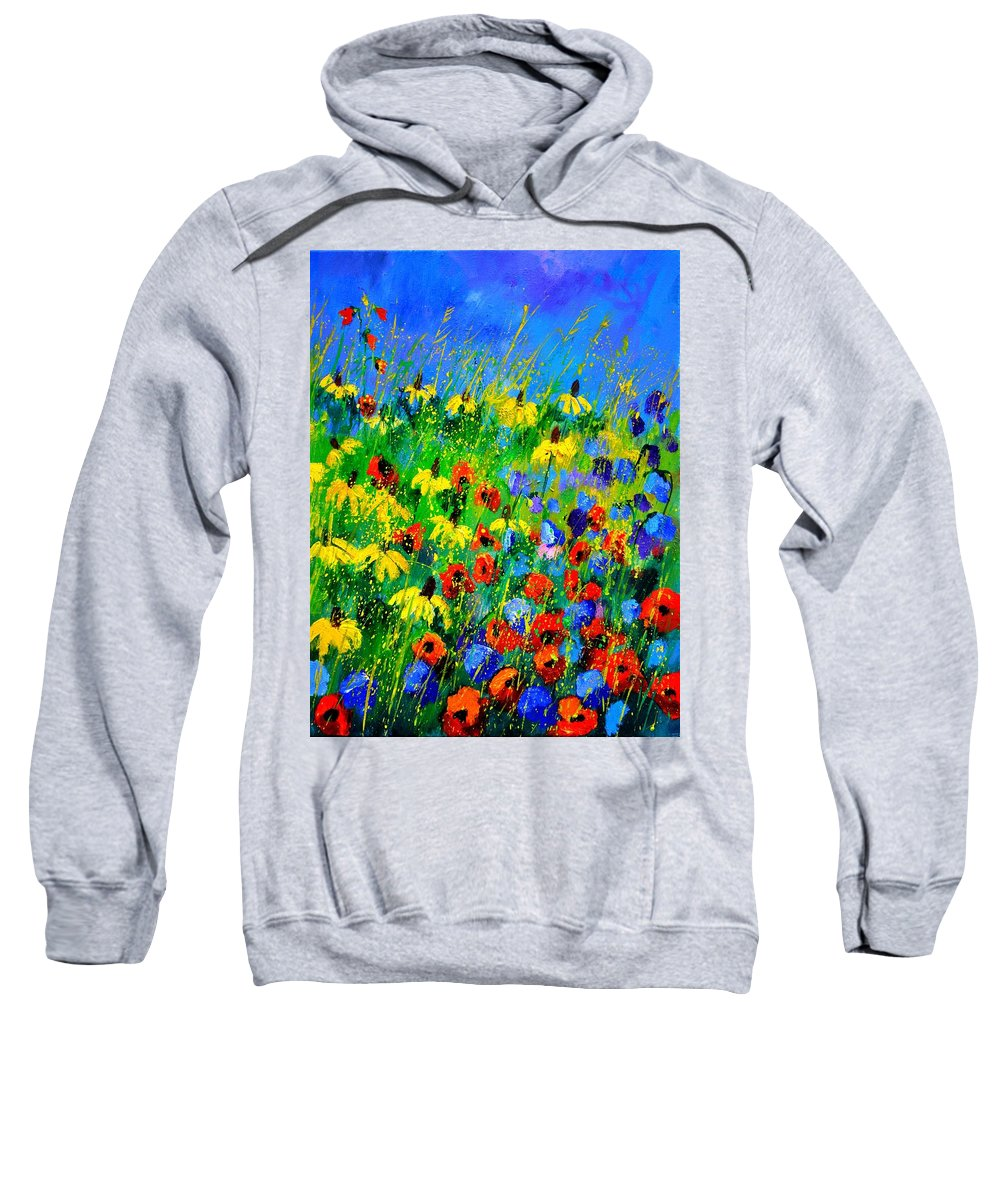 Poppies Sweatshirt featuring the painting Wild Flowers 452180 by Pol Ledent
