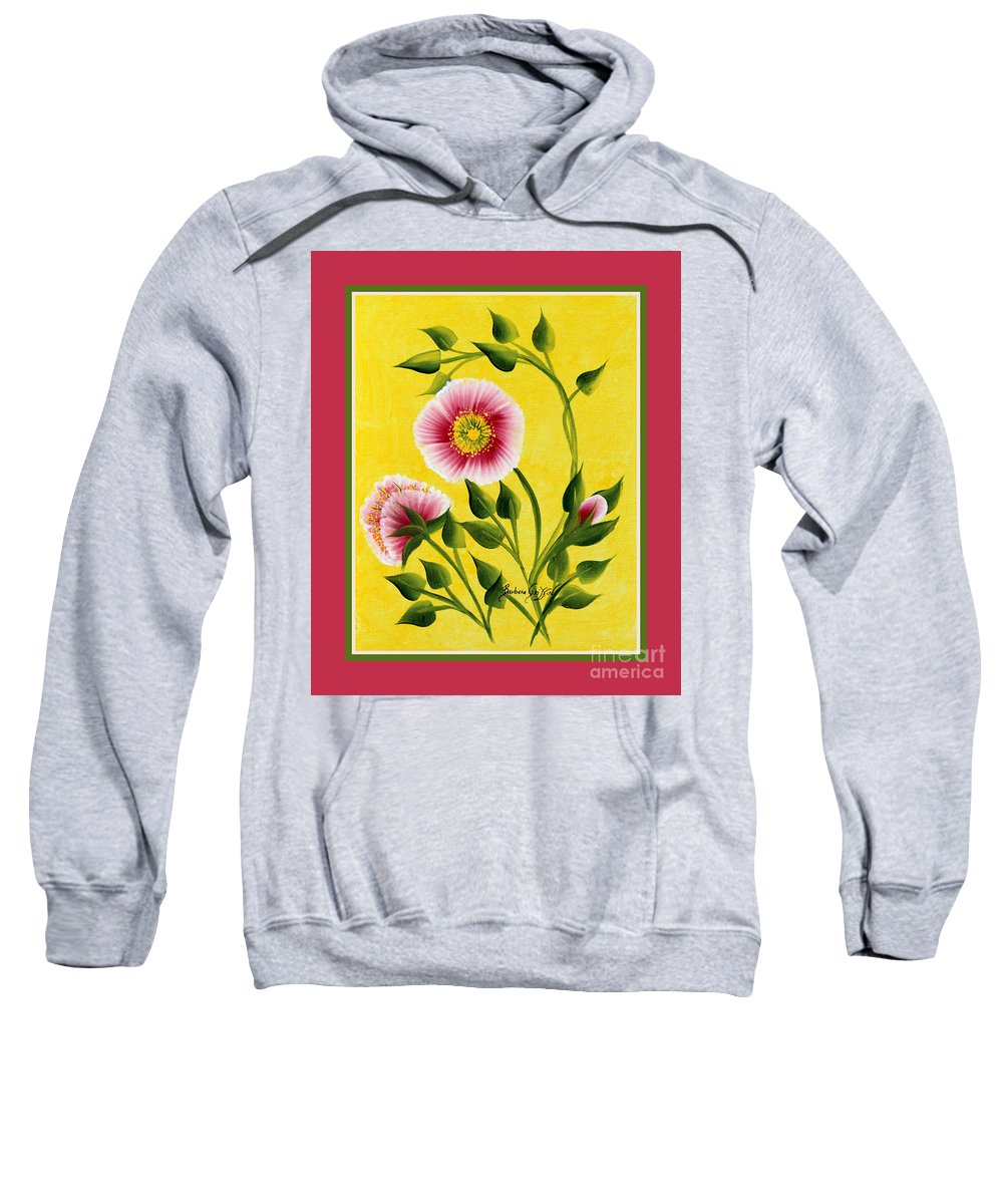 Wild Roses Sweatshirt featuring the painting Wild Roses On Yellow With Borders by Barbara Griffin