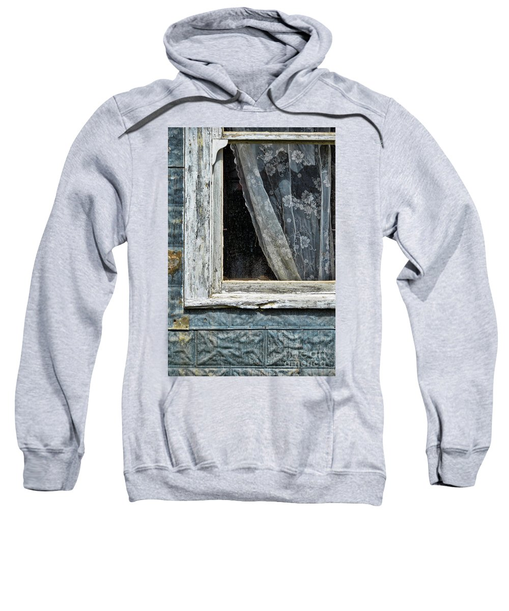 Curtain Sweatshirt featuring the photograph Window Of Old Abandoned Building by Jill Battaglia