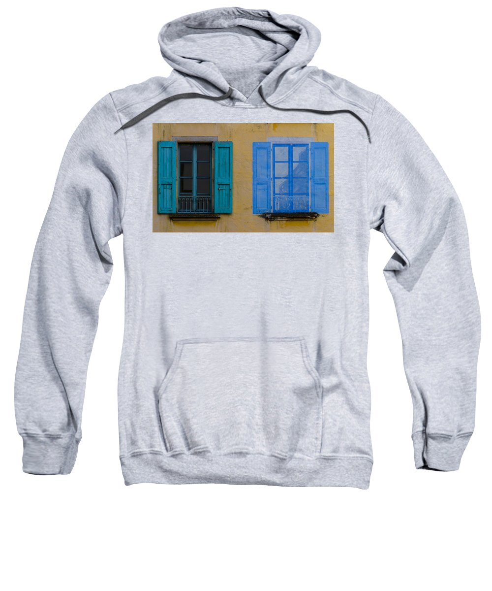 Blue Sweatshirt featuring the photograph Windows by Debra and Dave Vanderlaan