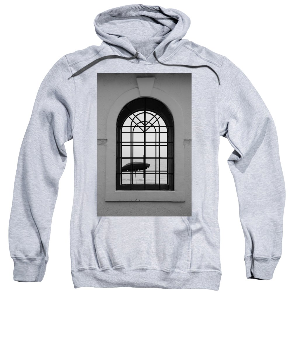 Windows Sweatshirt featuring the photograph Windows On The Beach In Black And White by Rob Hans