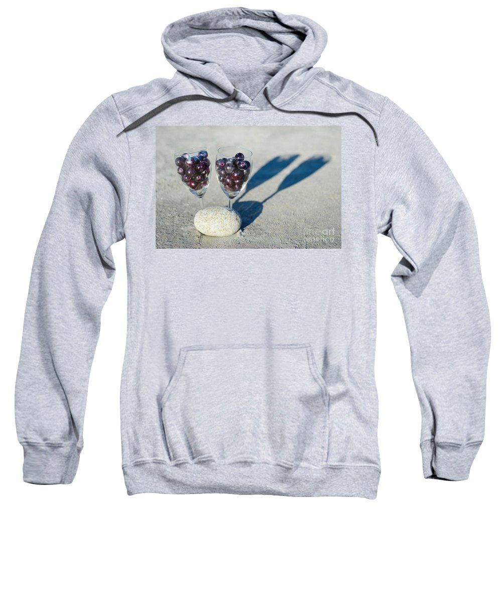 Grapes Sweatshirt featuring the photograph Wine Glass With Grapes by Mats Silvan