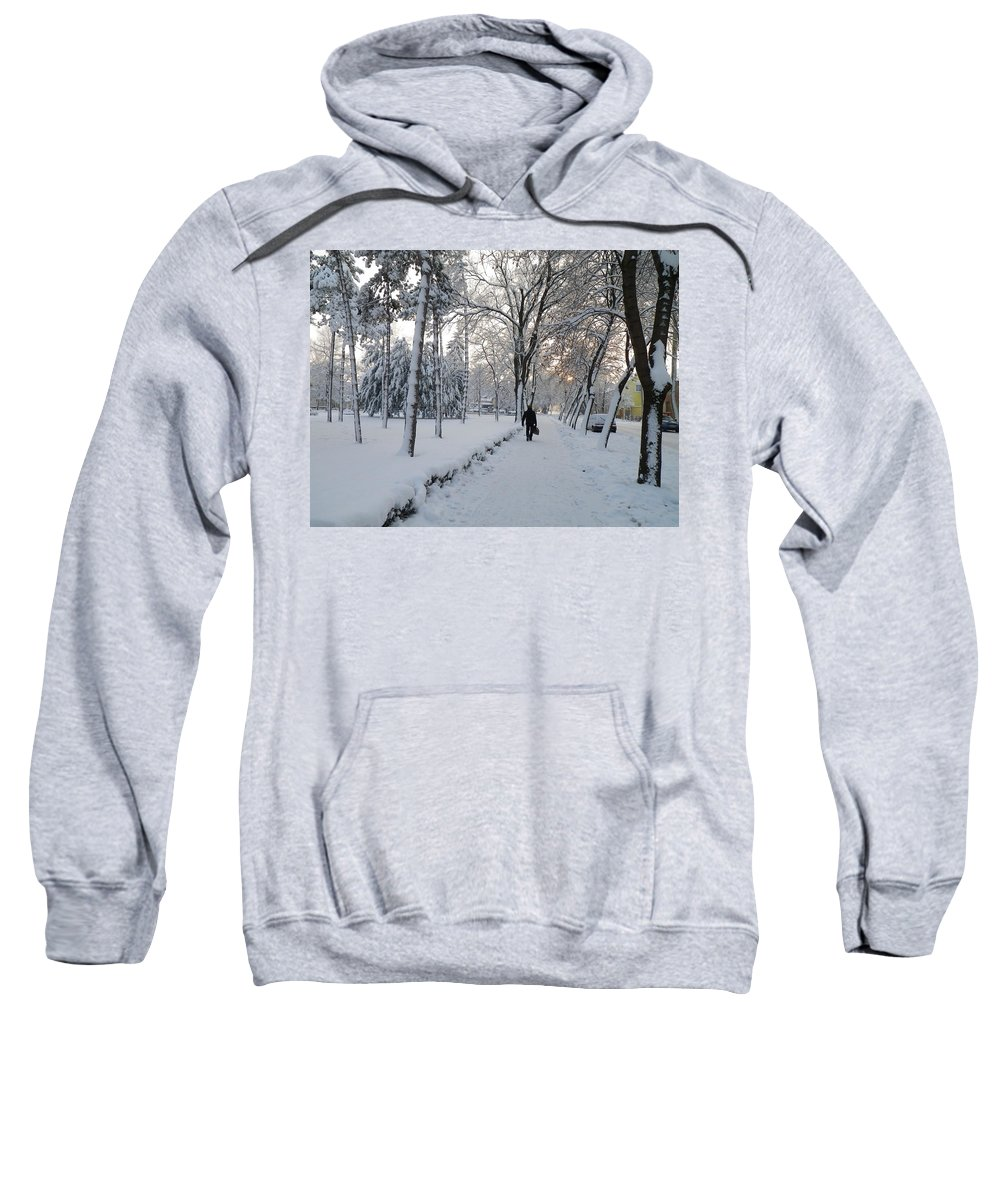Snow Sweatshirt featuring the photograph Winter In Mako by Anna Ruzsan