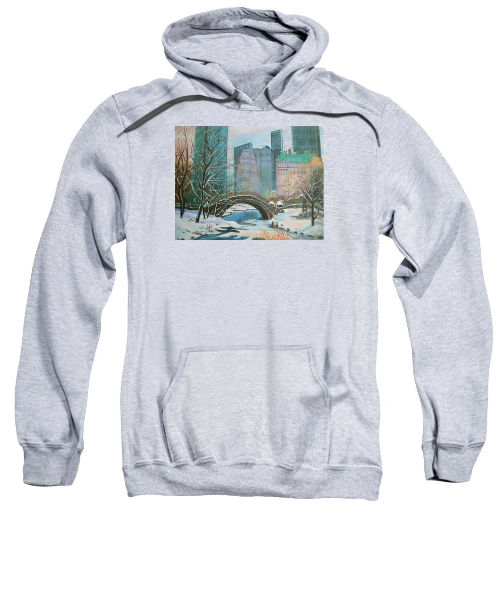 Winter Sweatshirt featuring the painting Winter In New York by Manjiri Kanvinde