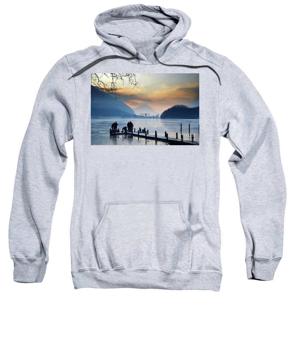Frost Sweatshirt featuring the photograph Winter Lake by Mats Silvan