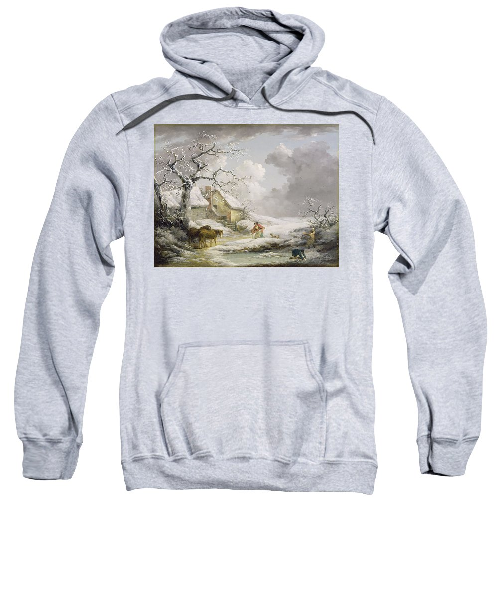 Xyc111910 Sweatshirt featuring the photograph Winter Landscape With Men Snowballing An Old Woman by George Morland
